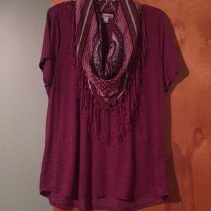 World Unity tee with detachable fringe scarf